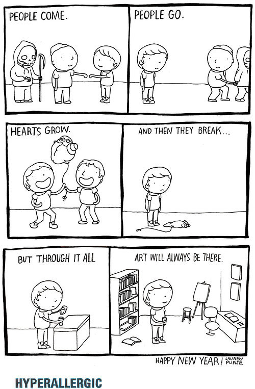 cartoon strip with a positive message about art