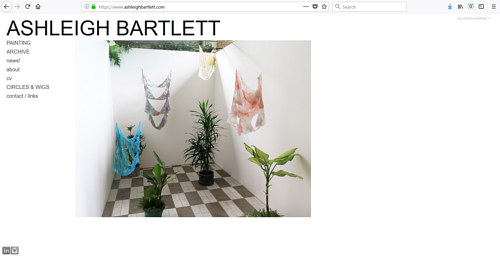 A screen capture of Ashleigh Bartlett's art website