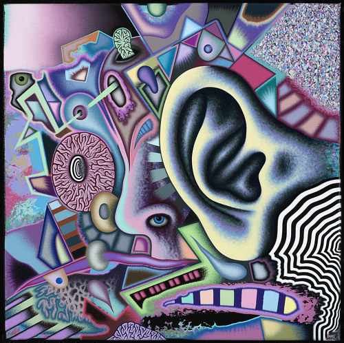 A painting of human body parts with a large ear