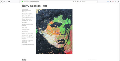 The front page of Barry Scanlan's art website