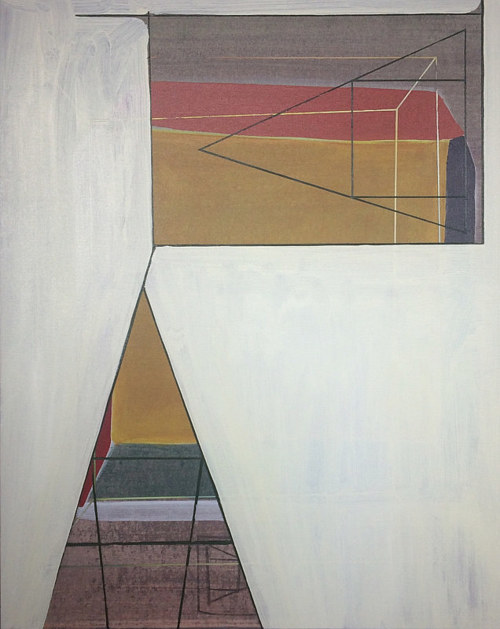 A geometric painting with large planes of white