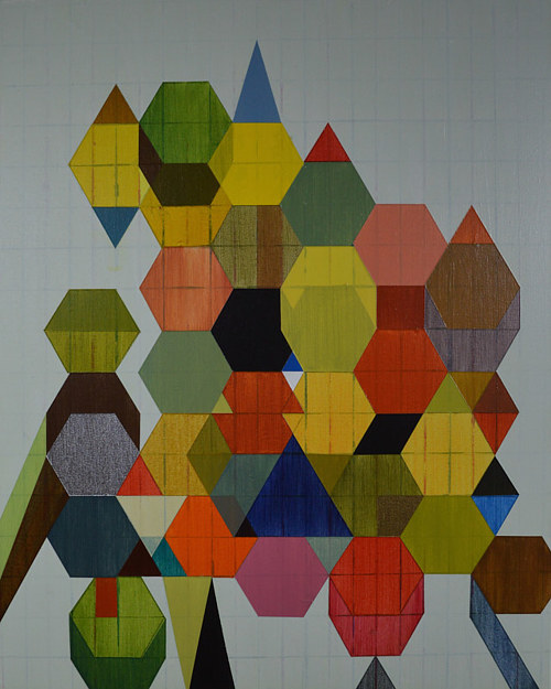 An abstract geometric composition made with repeating shapes