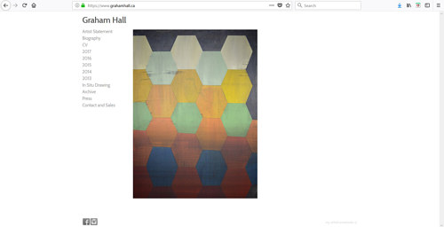 The front page of Graham Hall's art portfolio website