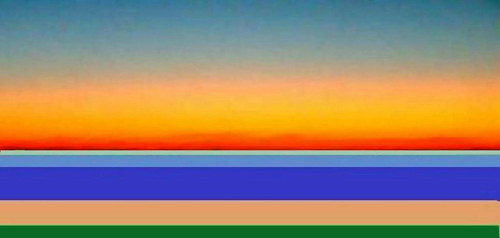 An artwork made with horizontal coloured lines representing the sky