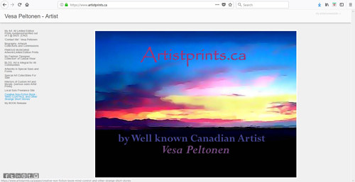 A screen capture of Vesa Peltonen's art website