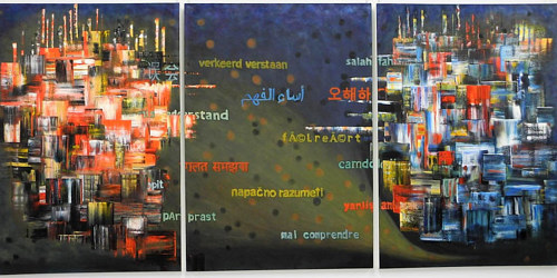 A painting incorporating elements of abstraction and text