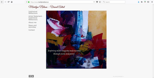 A screen capture of Marilyn Nelson's art portfolio website