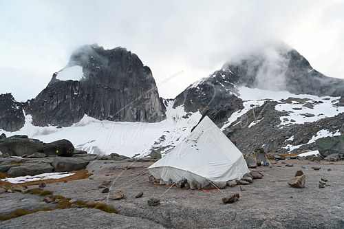 A photo of base camp on a mountaineering expedition