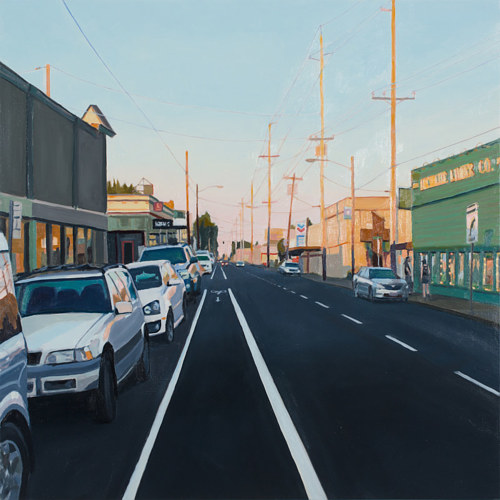 A painting of a city street with cars