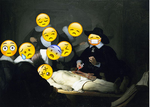 Image of painting on men with emoticon faces leaning over body