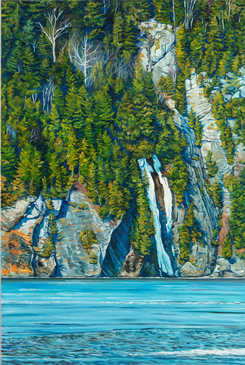 A painting of a frozen waterfall on a forested cliff
