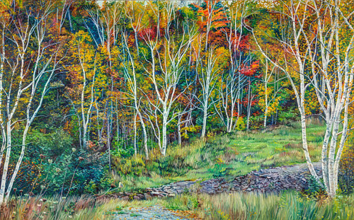 A painting of a row of fall birch trees