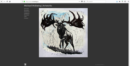 A screen capture of Michael McEwing's art website