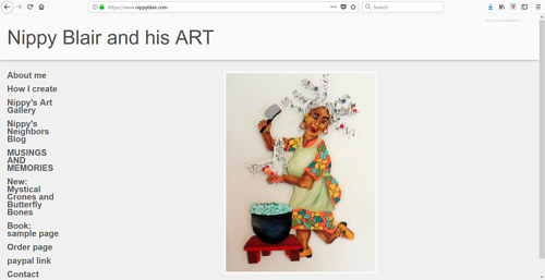 A screen capture of Nippy Blair's art website