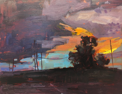 A painting of a shadowy landscape at sunset