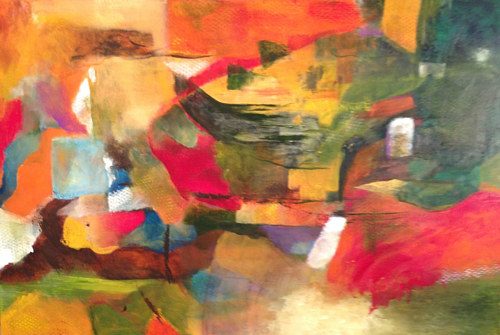 An abstract painting with bright, warm colours