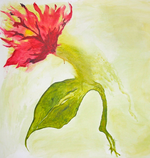 A painting of a red flower