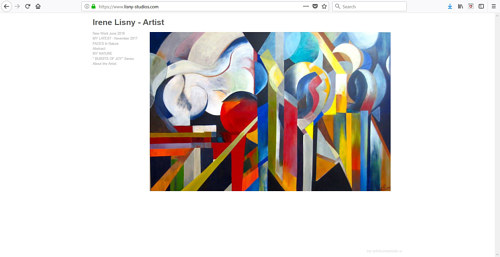 The front page of Irene Lisny's art website