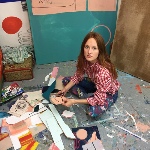 A photo of Milla Eastwood working in her studio