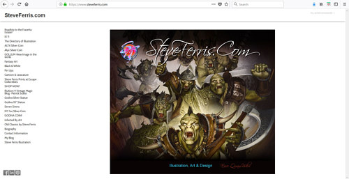 The front page of Steve Ferris' art portfolio website