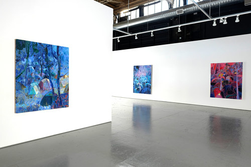 An installation view of three paintings by Ben Reeves