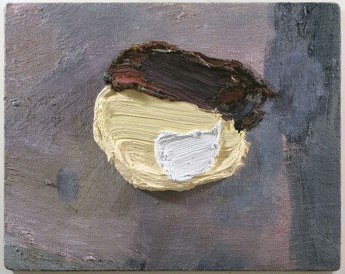 A painting consisting of a large blob of mixed oil paint