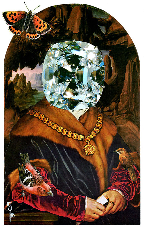 A collage artwork of a royal person with a jewel over their face
