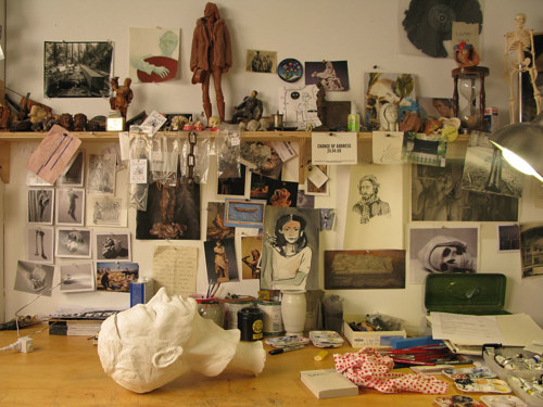 A photo of a corner of Ricky Swallow's studio