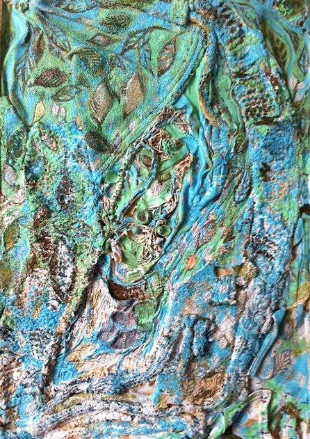 A mixed media artwork with blue and green tones