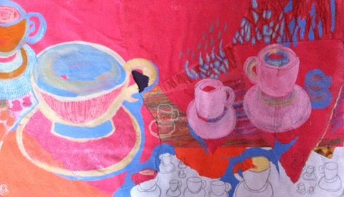 A bright pink painting of some cups