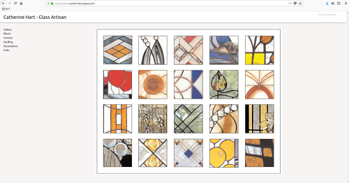 A screen capture of Catherine Hart's art website