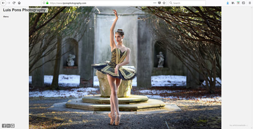 A screen capture of Luis Pons' photography portfolio website