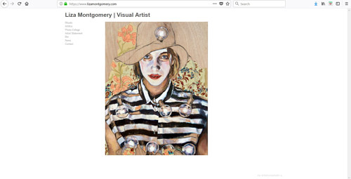 A screen capture of Liza Montgomery's art website