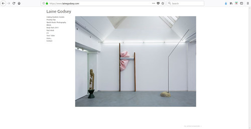 The front page of Laine Godsey's art website