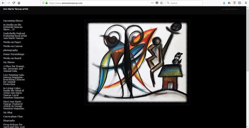 A screen capture of Ann Marie Vancas' art website