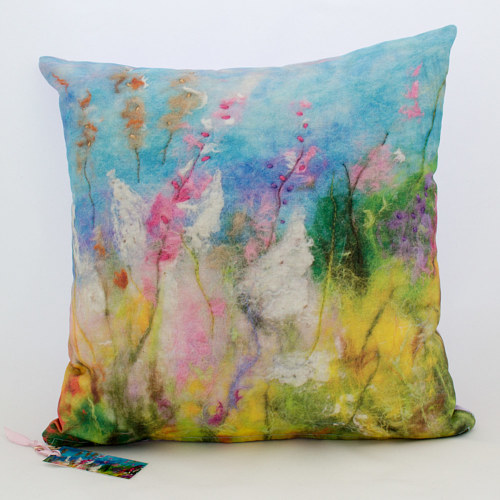 A hand-felted pillow cover
