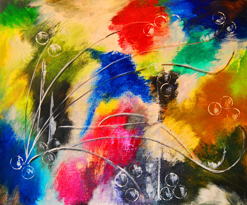 A colourful mixed media work with abstracted planes of colour