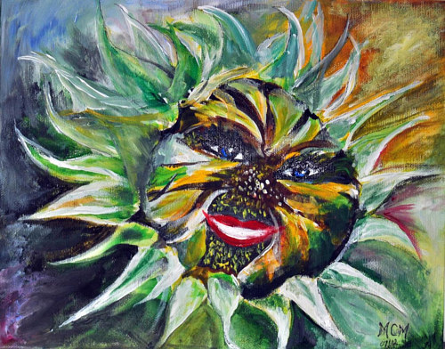A painting of a sunflower with a face
