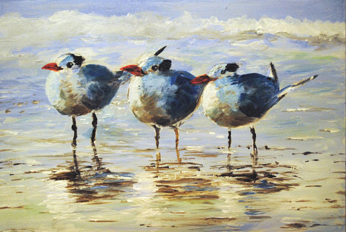 A painting of three seagulls