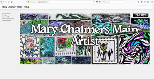 A screen capture of Mary Chalmers Main's art website
