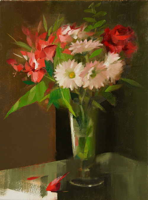 A still-life painting of a vase of flowers