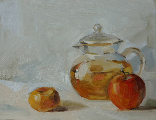 A painting of some fruit next to a vessel of water