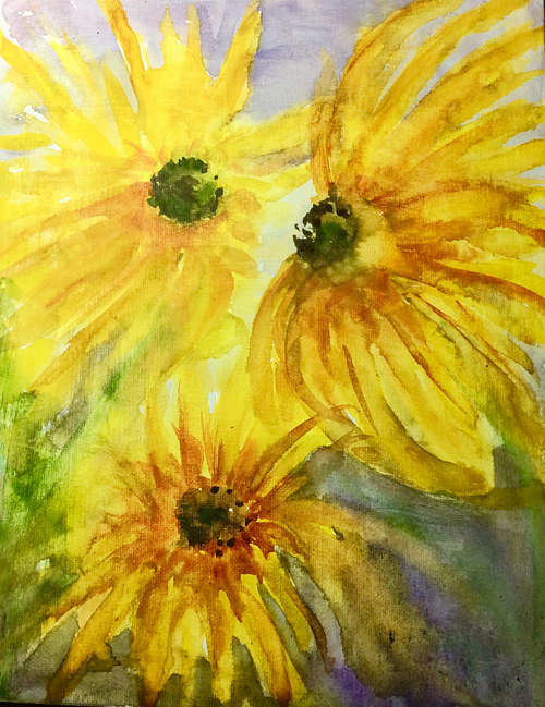 A painting of some sunflowers in bright yellow