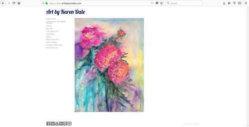 The front page of Karen Dale's art website