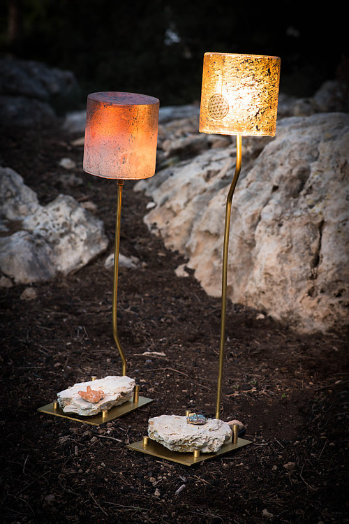 Two pyrite-based lighting fixtures