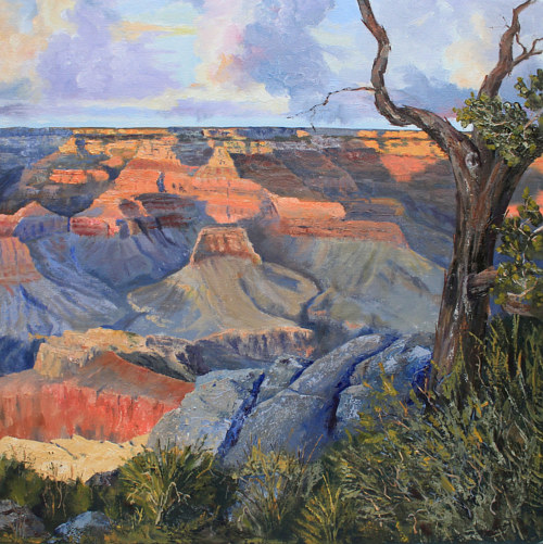 A painting depicting a Grand Canyon vista
