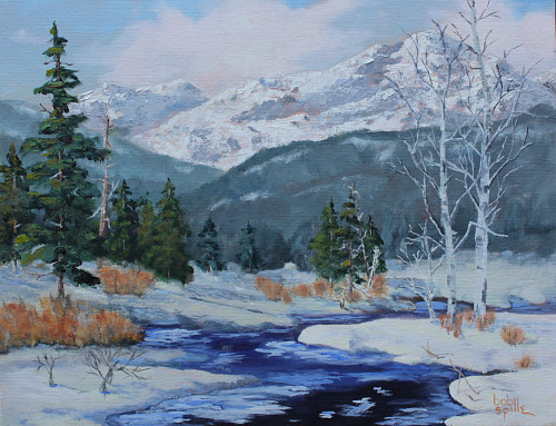 A painting of a mountainous landscape covered in snow