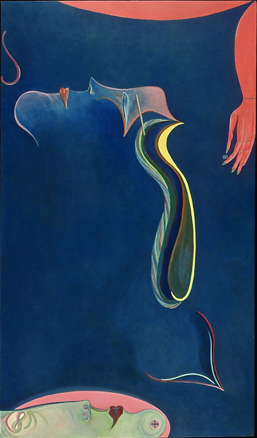 A painting with an abstract figure and reference to the night sky