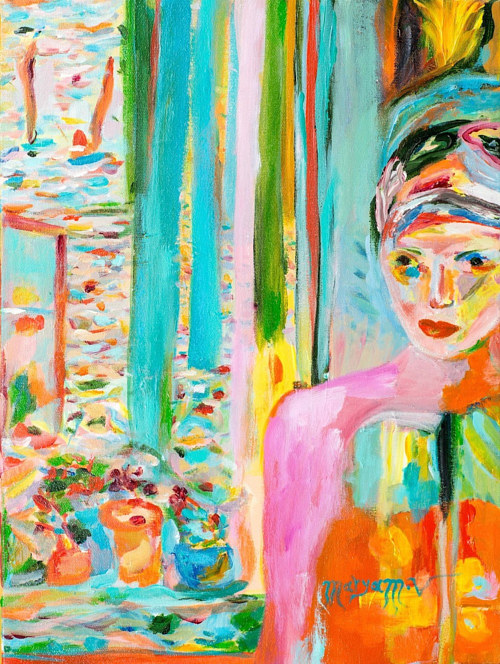 A painting of a woman in bright, saturated colour