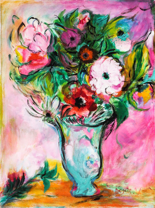 A painting of a vase of flowers in pink hues